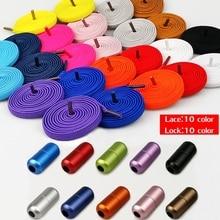 1Pair Aluminum Metal Lock No tie Shoelaces Elastic Shoe Laces for Men Women 23 Colors