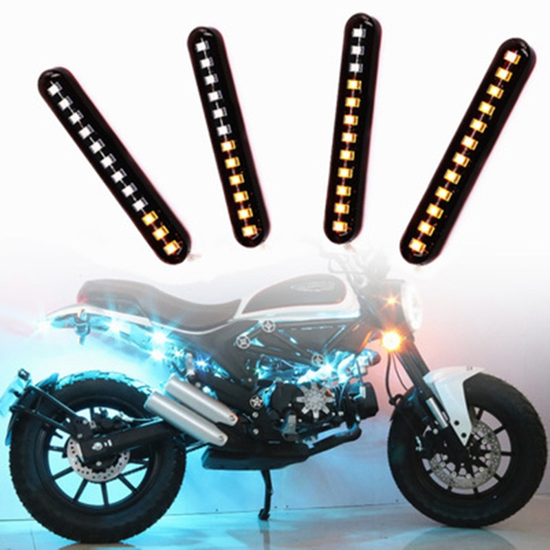 2PCS 12LED Streamer Signal Turn Motorcycle Car Stream Flowing Yellow Lamp Dynamic Blinker Led