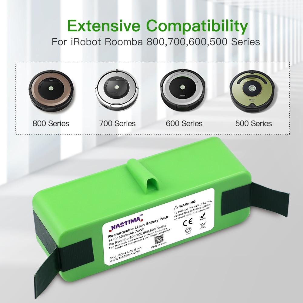 NASTIMA Upgrade 14,8 V 5000mAh Lithium-ionen Batterie für iRobot Roomba 800 700 600 Serie 895 891 890 880 870 860 675 760 770 780