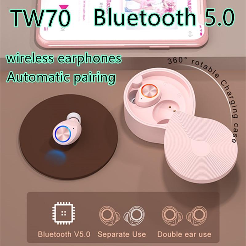 Auriculares inalámbricos Bluetooth TWS TW70 auriculares táctiles Bluetooth 5,0 auriculares deportivos portátiles a prueba de agua para xiaomi huawei iphone