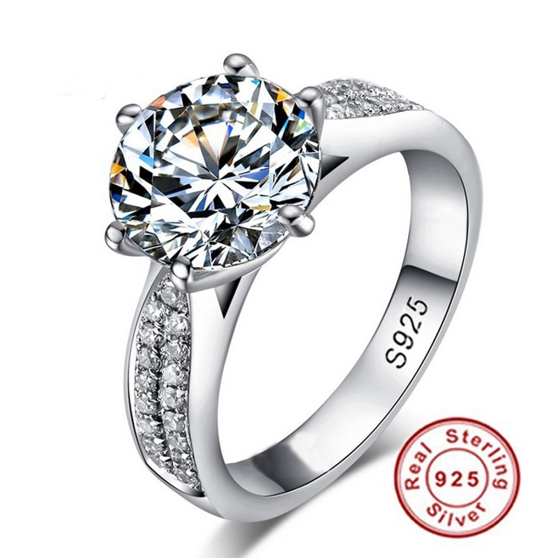 Vecalon solitaire anel de promessa 925 prata esterlina 9mm aaaaa sona cz declaração de noivado anéis de banda de casamento para jóias femininas