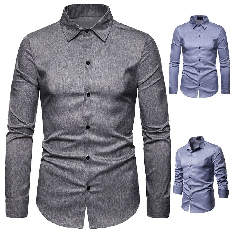 2020 Otoño e Invierno camisa de Caballero de Color sólido de Inglaterra diseño de moda camisa de manga larga con cuello doblado para hombres