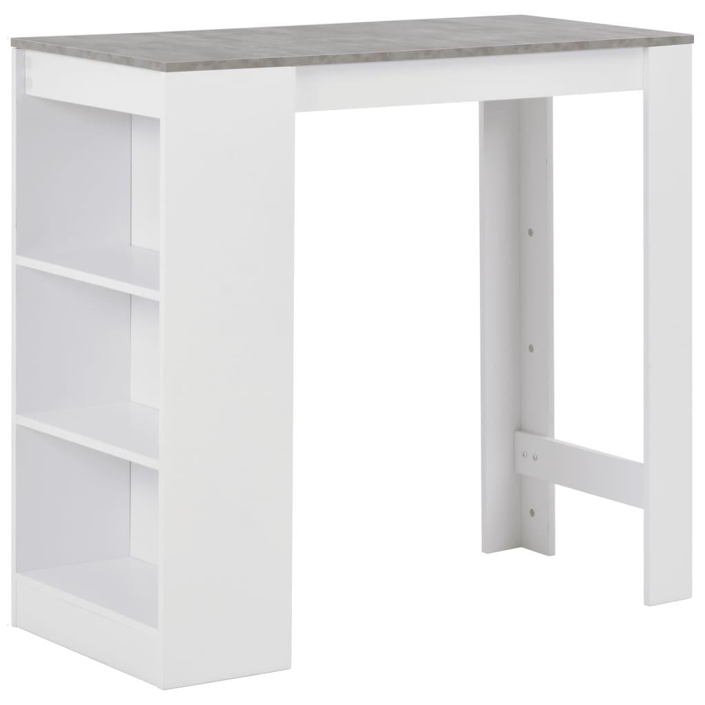 طاولة بار مع رف ، أبيض ، 43.31 بوصة × 19.69 بوصة × 40.55 بوصة