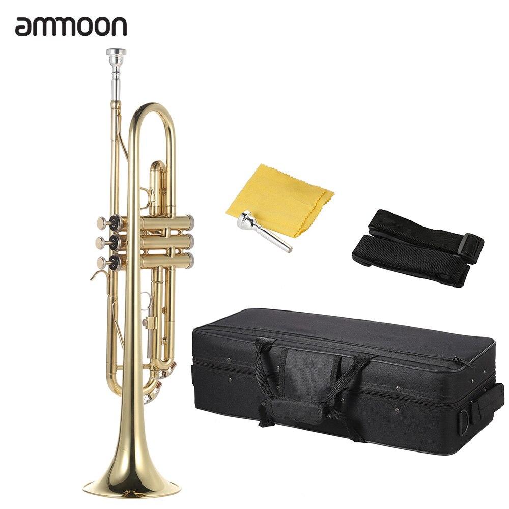 Ammoon البوق Bb شقة النحاس مطلية بالذهب رائعة آلة موسيقية دائمة مع قفازات المعبرة حزام