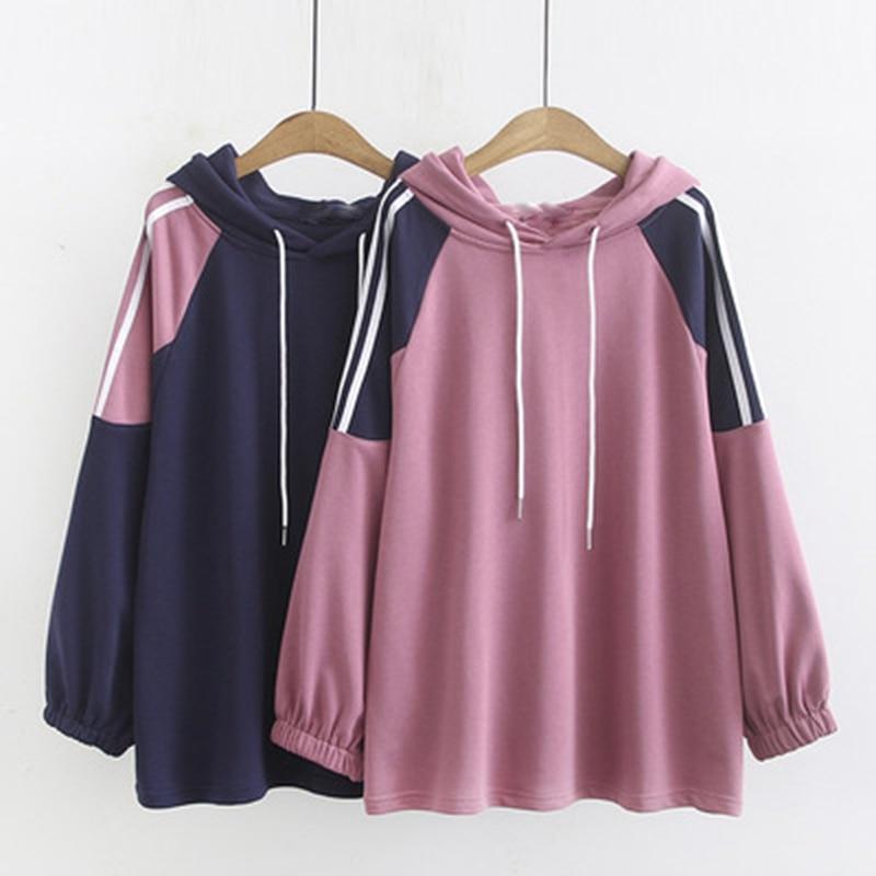 Sudadera con capucha de talla grande para mujer de otoño e invierno, sudadera informal a la moda de colores combinados 4XL, 5XL, 6XL, 7XL y 8XL, busto de 132CM