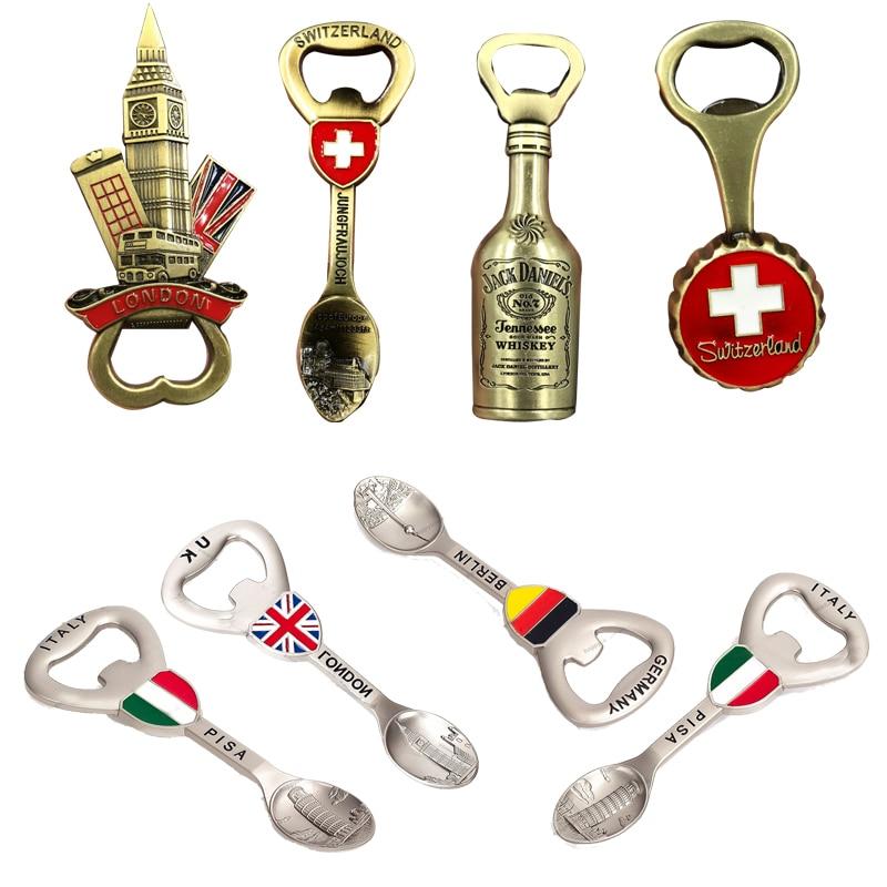 Abrebotellas creativo con imanes de nevera de Metal, decoración del hogar, recuerdos...