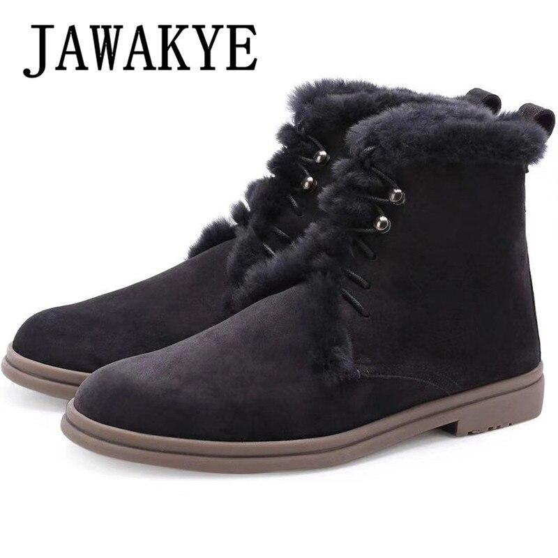 Botas de nieve de punta redonda de tacón plano para hombre Botas de tobillo de piel de oveja Natural zapatos de invierno para hombre cómodos zapatos de conducción de cuero de gamuza 2020