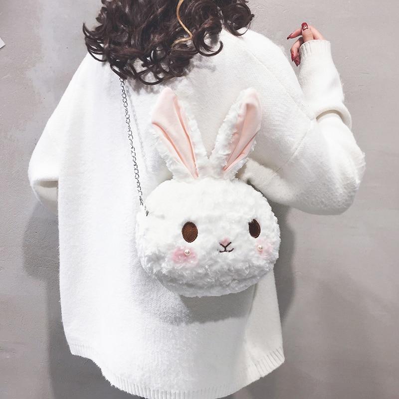 Kawaii streetwear mini bolsos de conejo mujeres de dibujos animados de felpa Cadena de hombro mensajero estilo japonés pequeño bolso feo lindo conejo bolsa