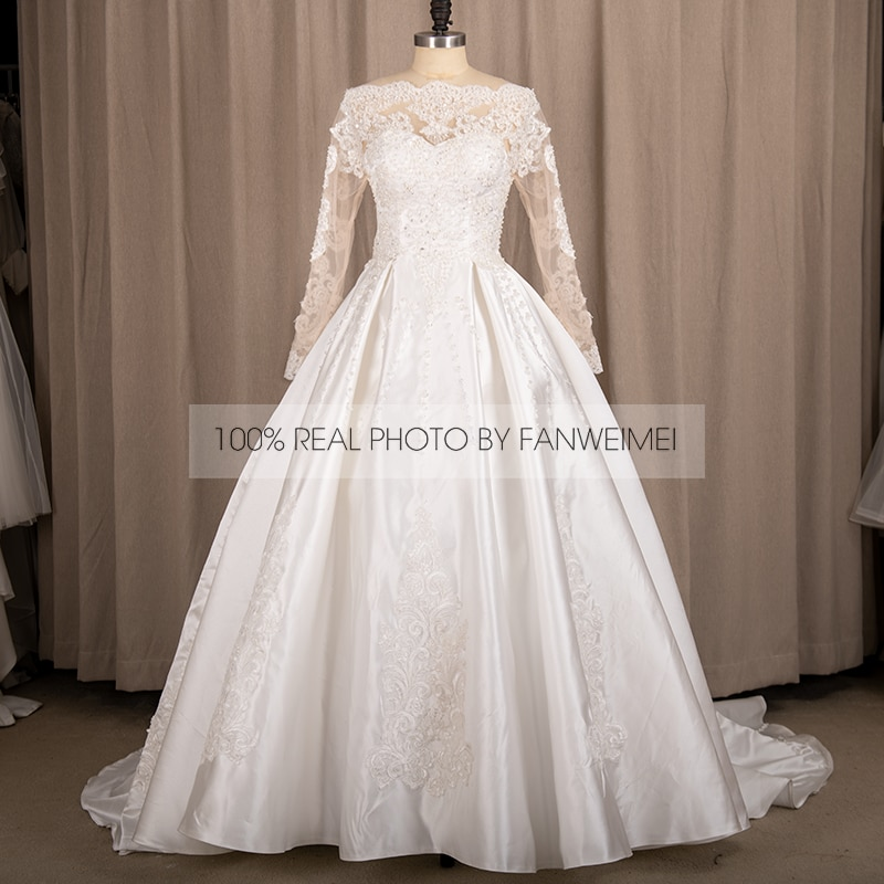 9235#100% Real Photos Off Shoulder Illusion Beading Lace Long Sleeve Princess Ball Gown Wedding Quinceanera Dresses