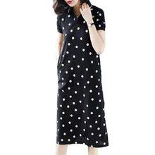 Short Sleeve Dress Fashion Dress 2021 New Shirt Bodycon Dress Women Mid-Length Lapel Large Size Loos