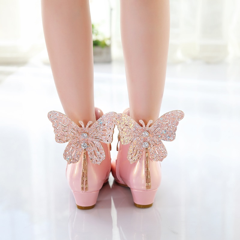 Kids Boots, Autumn and Winter New Waves High Heeled Princess Performance 4-12 Years Children's Short Shoes enlarge