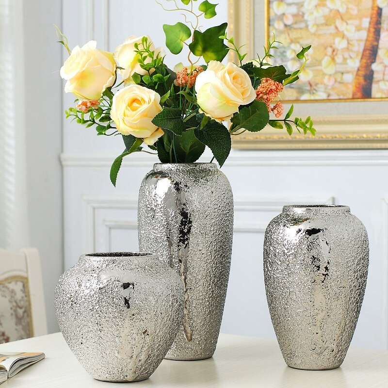 Купить с кэшбэком Silver vase home living room TV cabinet wine cabinet decoration ornaments soft art ceramic gold-plated vase Simple modern home