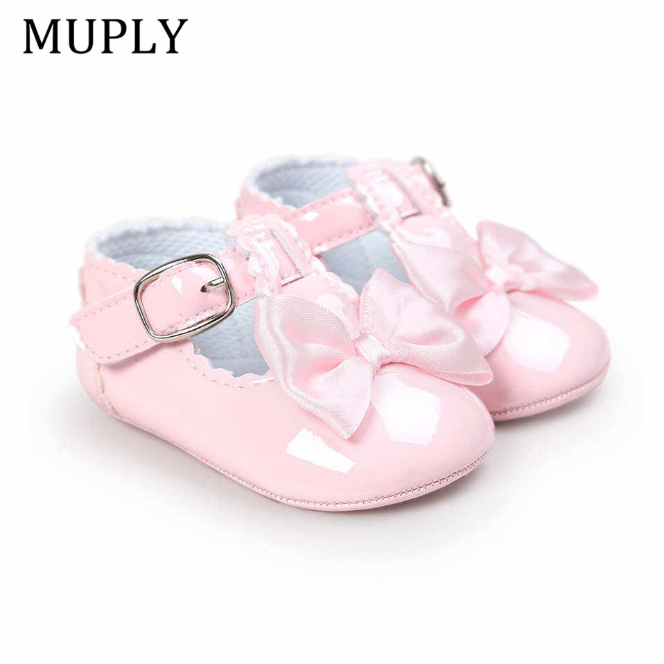 Newborn Baby Girls Shoes PU leather Buckle First Walkers Big Bow Summer Princess Shoes Party Wedding