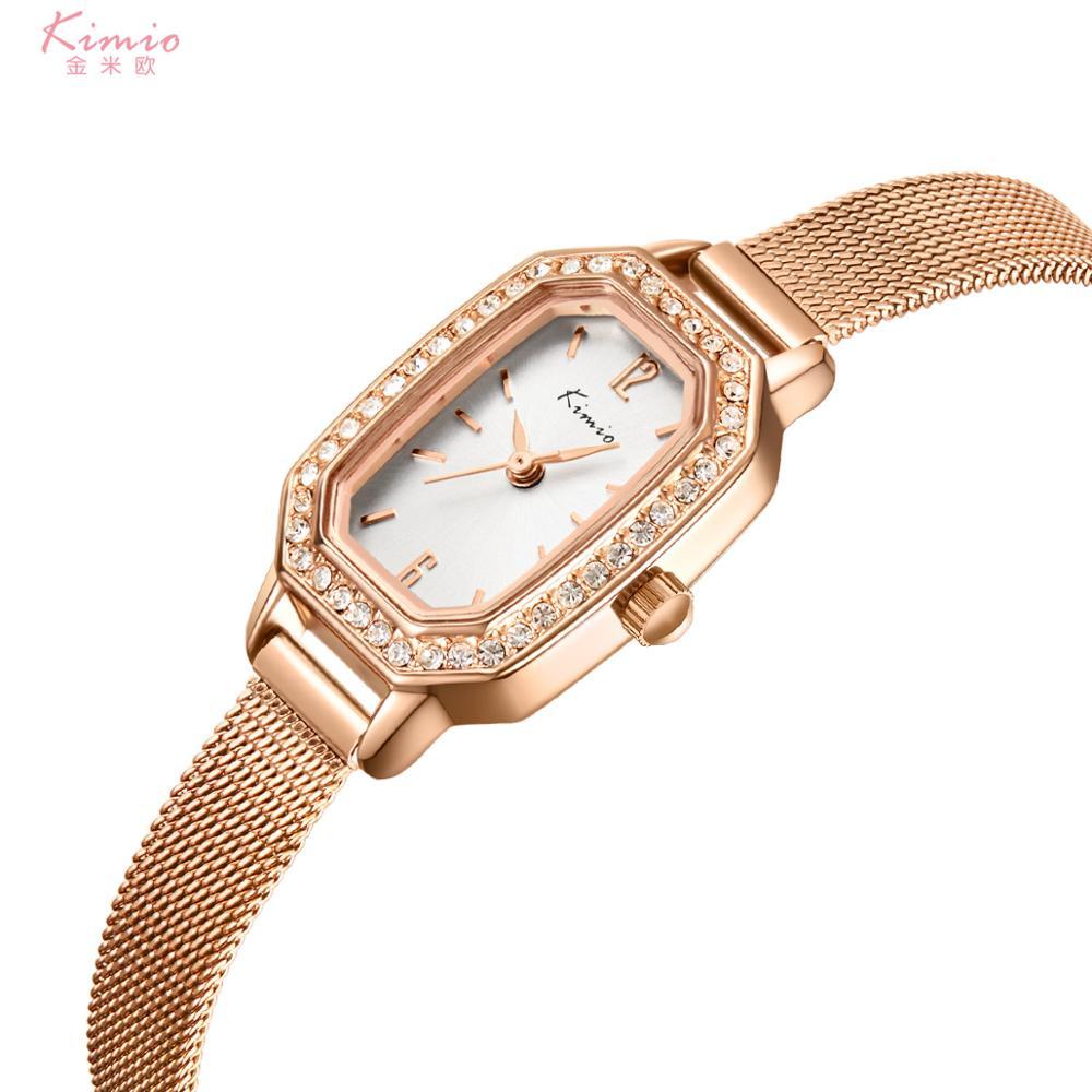 Moda de Luxo Kimio Relógios Femininos Simples Senhoras Rosa Ouro Prata Relógio Feminino Quartzo Aço Inoxidável K6362ss