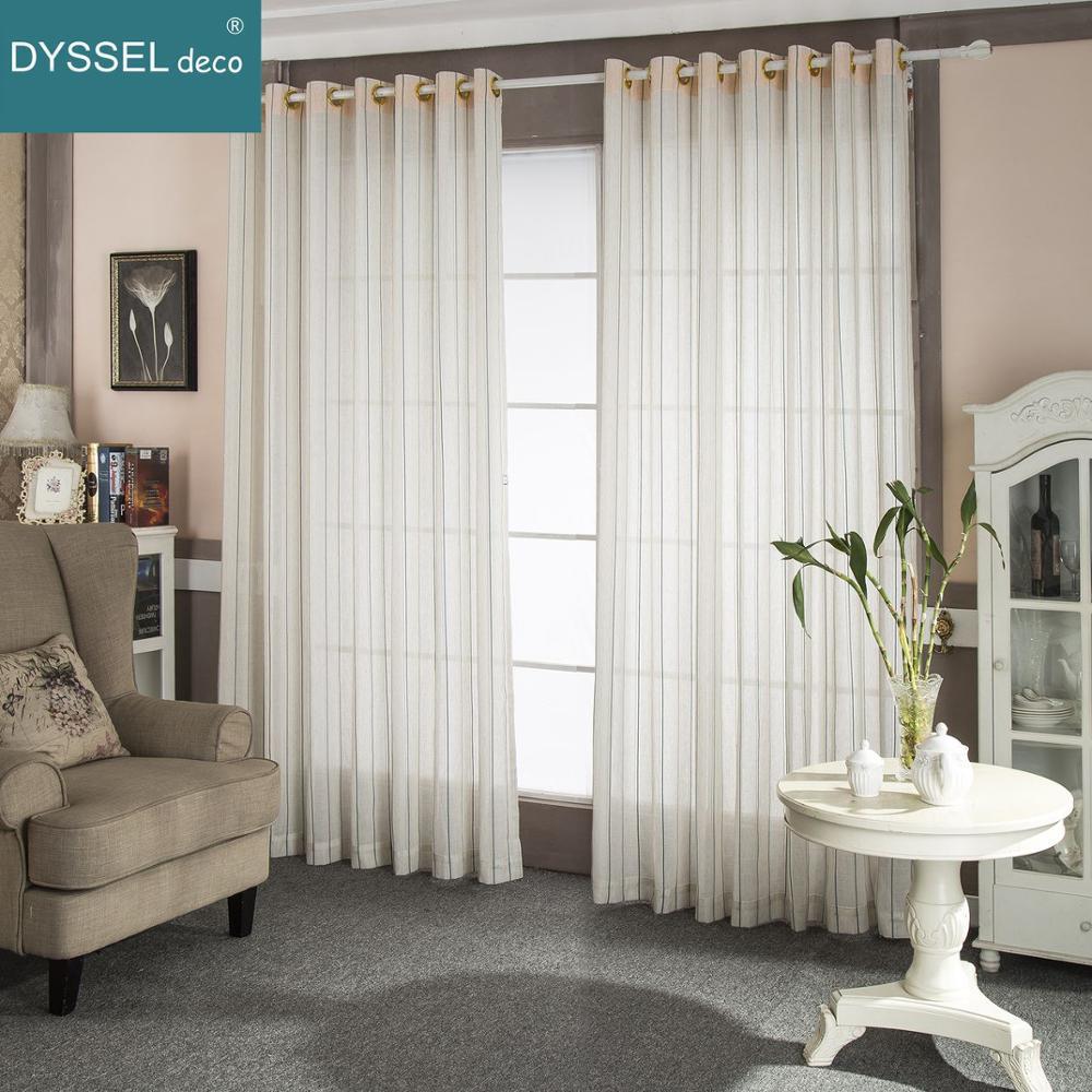 Moderno Lino decorativo a rayas para el hogar beige blanco puro estilo europeo cortinas de ventana Barra de bolsillo ojal para sala de estar dormitorio