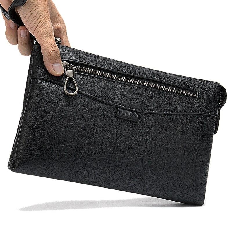 Natural Leather Men Clutch Bag Business Purse Wallet Cell Phone Cigarette Cash Card Holder Male Handy Bags