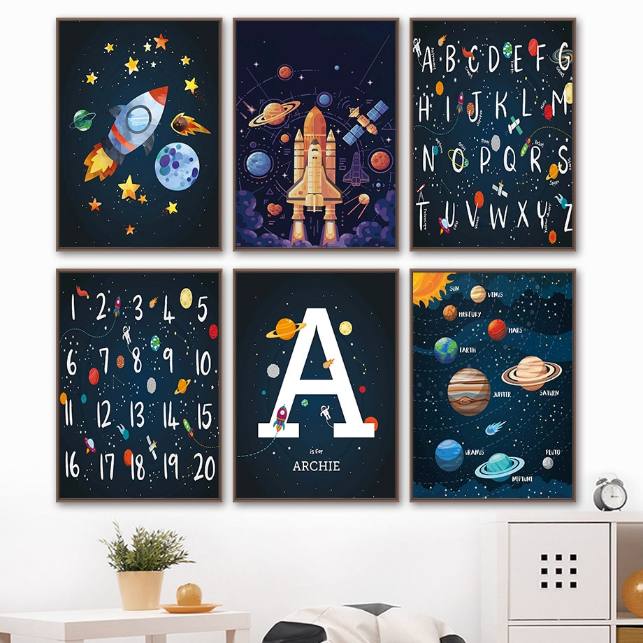 AliExpress - Planets Rocket Spaceship Number Letter Nursery Wall Art Canvas Painting Nordic Posters And Prints Wall Pictures Kids Room Decor