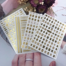 1 Vel Goud Bronzing 3D Nail Decals Engels Alfabet Hot Stamping Brief Schoonheid Nail Art Decoraties Lijm Nail Sticker Tr97