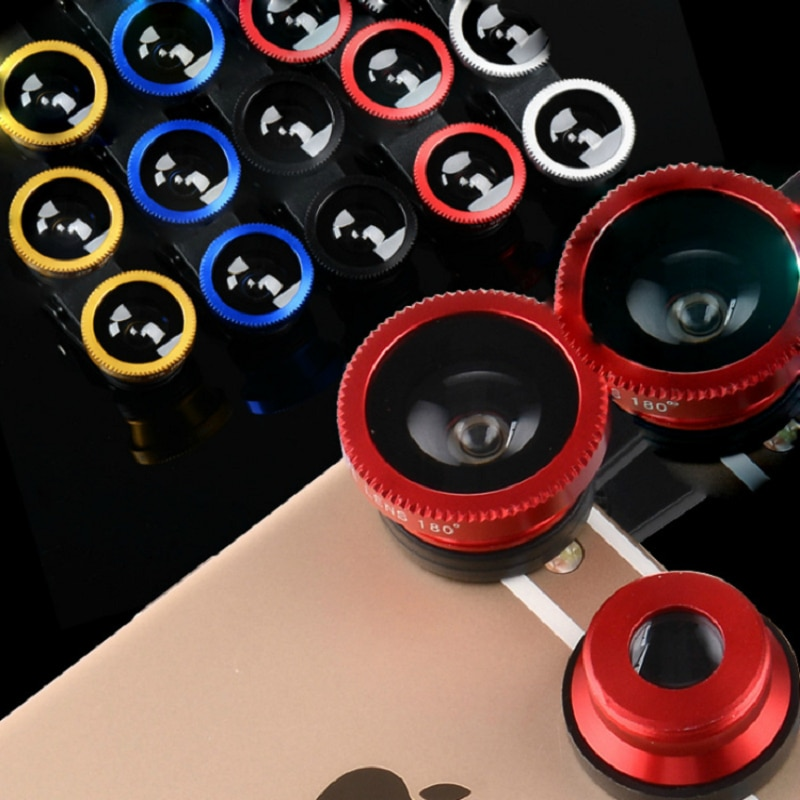 3-in-1 Wide Angle Macro Fisheye Lens Camera Kits Mobile Phone Fish Eye Lenses with Clip for iPhone S