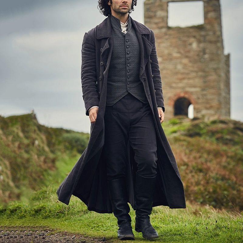 معطف صوف رجالي قديم مقاوم للرياح 2021, معطف رجالي ضيق ، متوسط الطول ، بريطاني ، كاجوال ، مقاوم للرياح ، طويل ، معاطف رجالية ، مقاس كبير