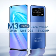 Smartphone Android M3 12GB 512GB Celulares Octa Core HD Camera 7.2
