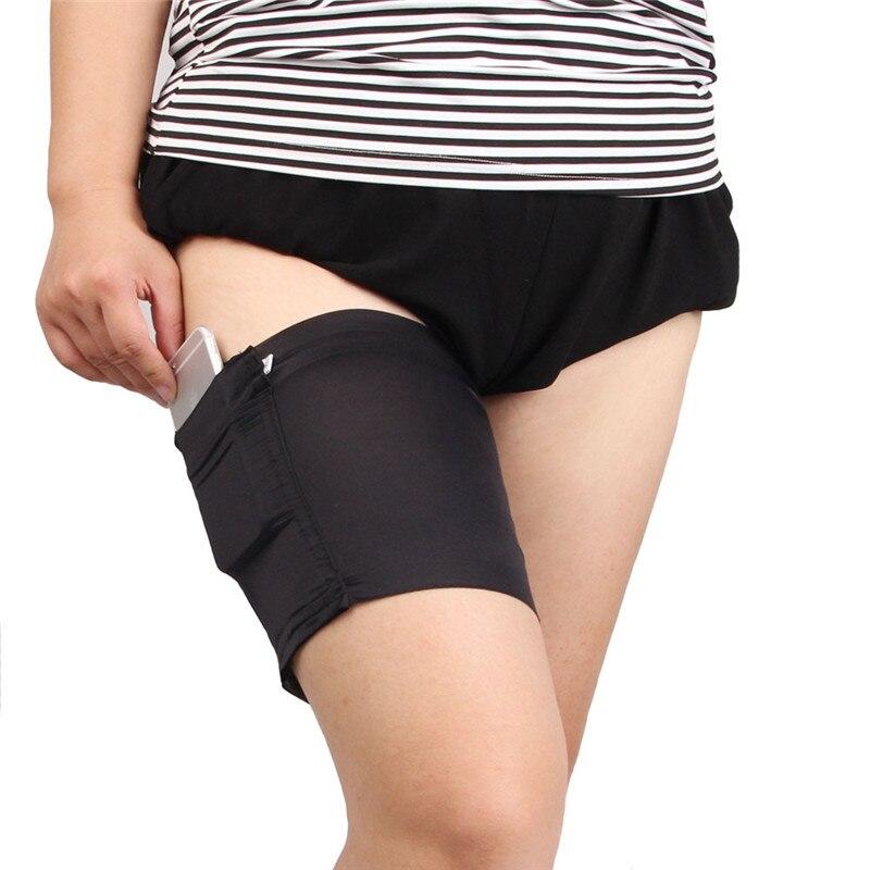 Летние женские сексуальные подвязки с карманом, Анти Трение, мобильный телефон, сумка, одна штука, черные сексуальные облегающие ленты, 1 шт.