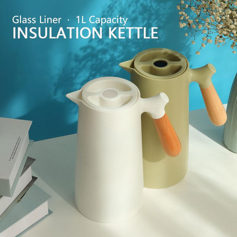 2021 موضة جديدة غلاية المنزلية 1L مع مقبض زجاج بطانة معزول الترمس مختومة مانعة للتسرب في الهواء الطلق السفر العزل وعاء
