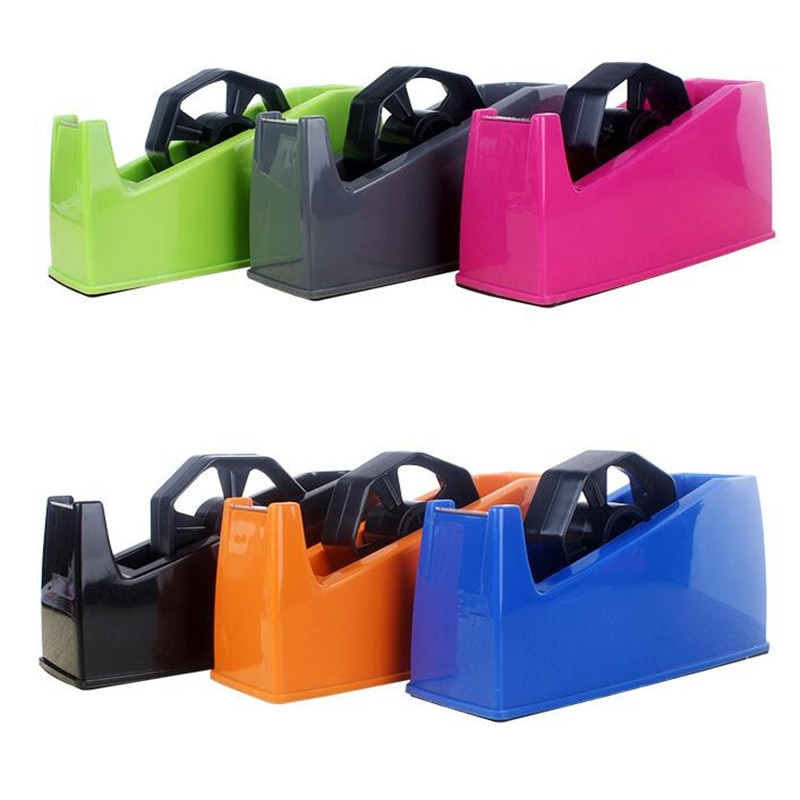 Desktop Stationery Tape Cutter Dispenser Scotch Masking Tape Seat Holder Dual Use Stationery Adhesive Paper Cutting Machine