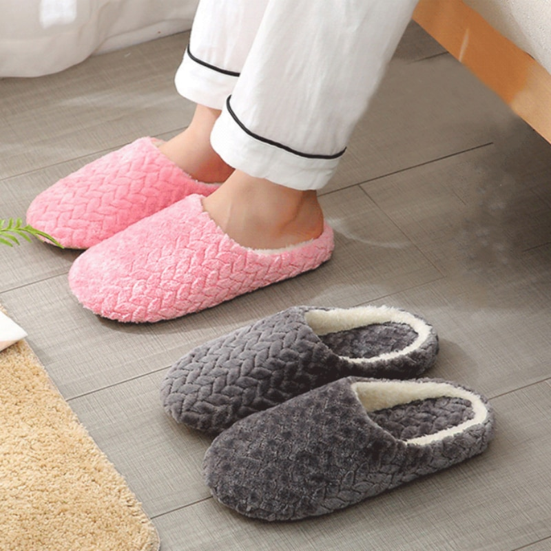 Women Indoor Slippers Warm Plush Home Slipper Autumn Winter Shoes Woman House Flat Floor Soft Slient Slides for Bedroom slippers for home use emoji soft cute cartoon slipper winter warm plush women shoes indoor home slippers for female women shoes