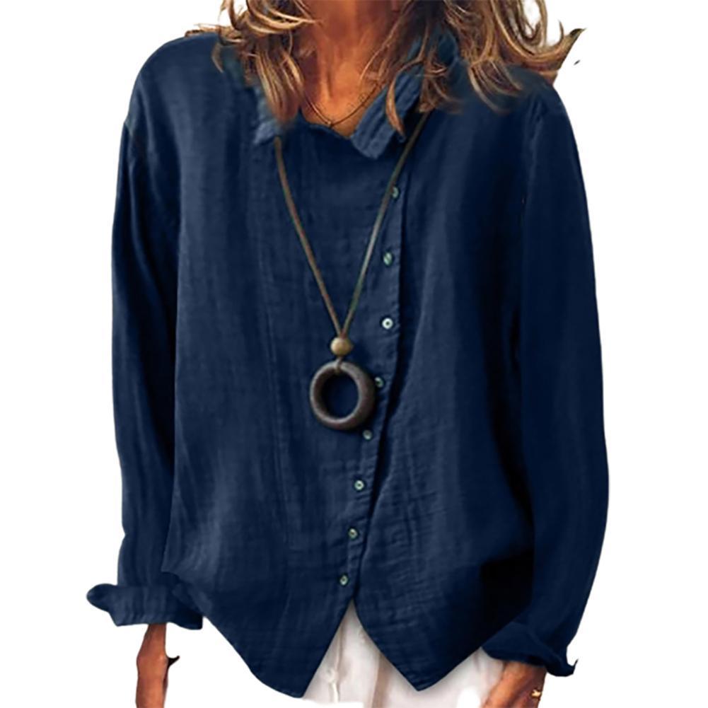 blouse trueprodigy blouse Blouse Women Solid Color Long Sleeve Irregular Single-breasted Cotton Linen Shirt Blouse Women Summer Blouse Ladies Shirt Female