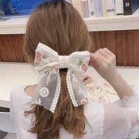 oversized butterfly hair clip lace embroidery hairpin for women lace ribbon barrette fashion hair accessories ponytail hair tie