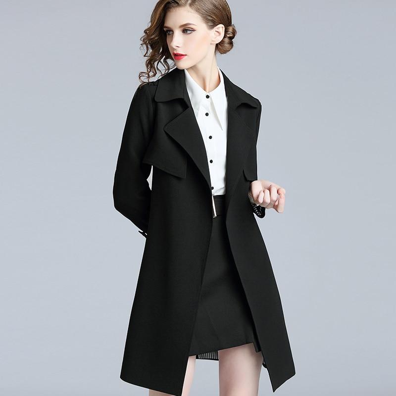 جديد إمرأة أسود خندق معطف جلد منتصف طول الخصر التخسيس معطف حجم كبير