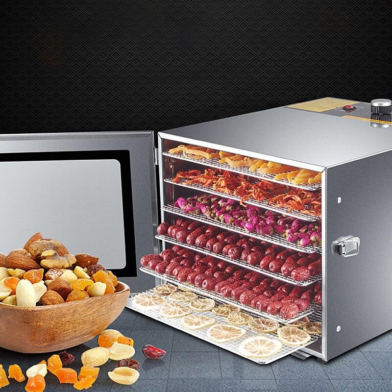 Máquina secadora de deshidratación de alimentos, secadora de frutas comercial de 6 capas, secadora de alimentos de acero inoxidable, máquina de aperitivos para mascotas y verduras secas