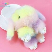 Светильник цвета радуги, искусственный мех, пушистый кролик, плюшевые игрушки, мягкие куклы, игрушки для детей, девочек, Подарочная сумка, брелок для ключей, игрушки кролика