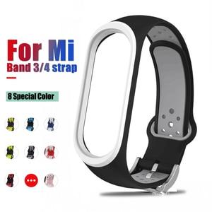 8pcs For Xiaomi Mi Band 3 4 Sport Strap watch Silicone wrist strap For Xiaomi MI 3 4 bracelet Miband 4 3 Strap Smart Bracelet