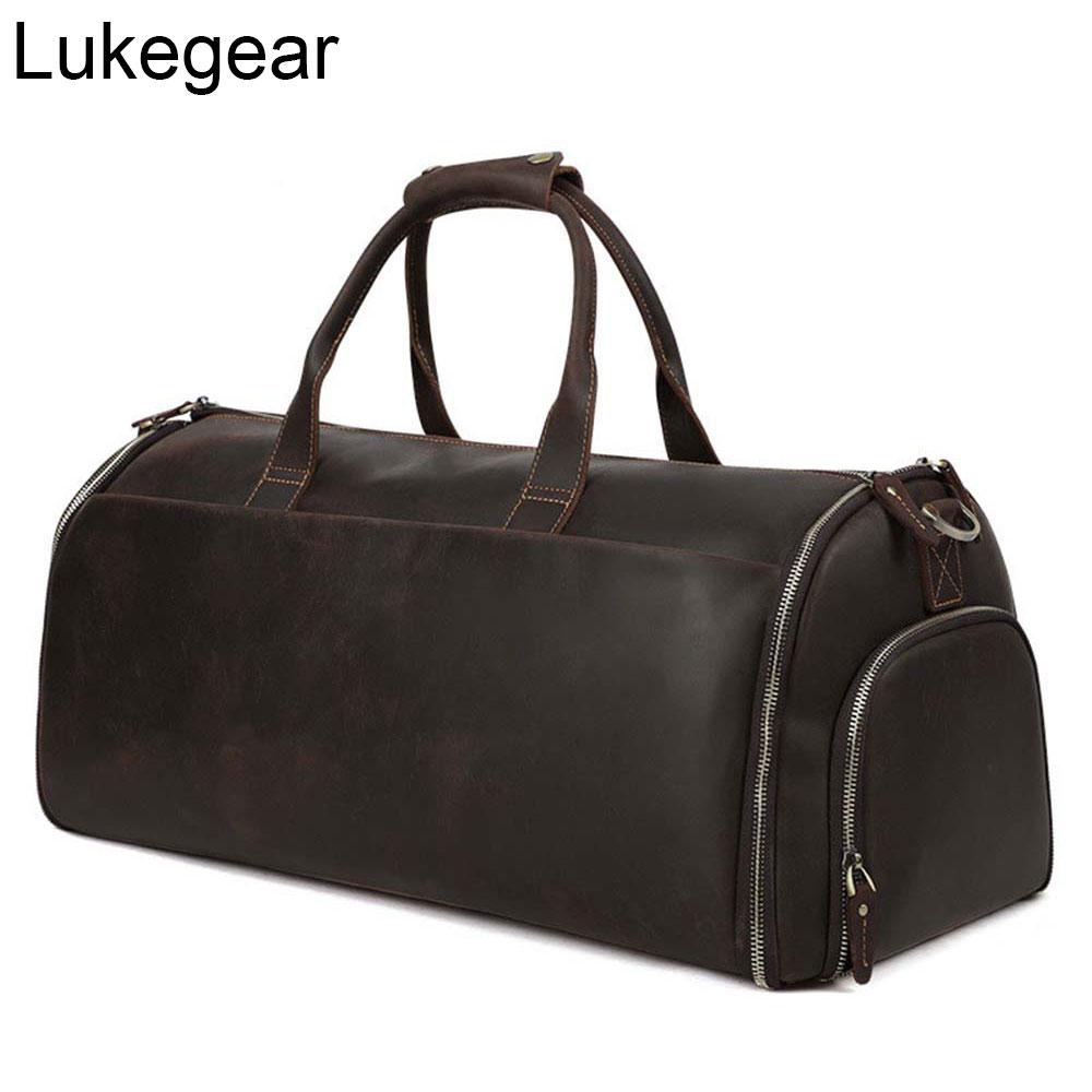 Bolsos de viaje de piel auténtica Lukegear, maletas multifuncionales de piel de vaca, estilo Retro