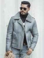 mens genuine leather clothes sheepskin fur winter shearling men jacket motorcycle jacket clothin size s 5xl