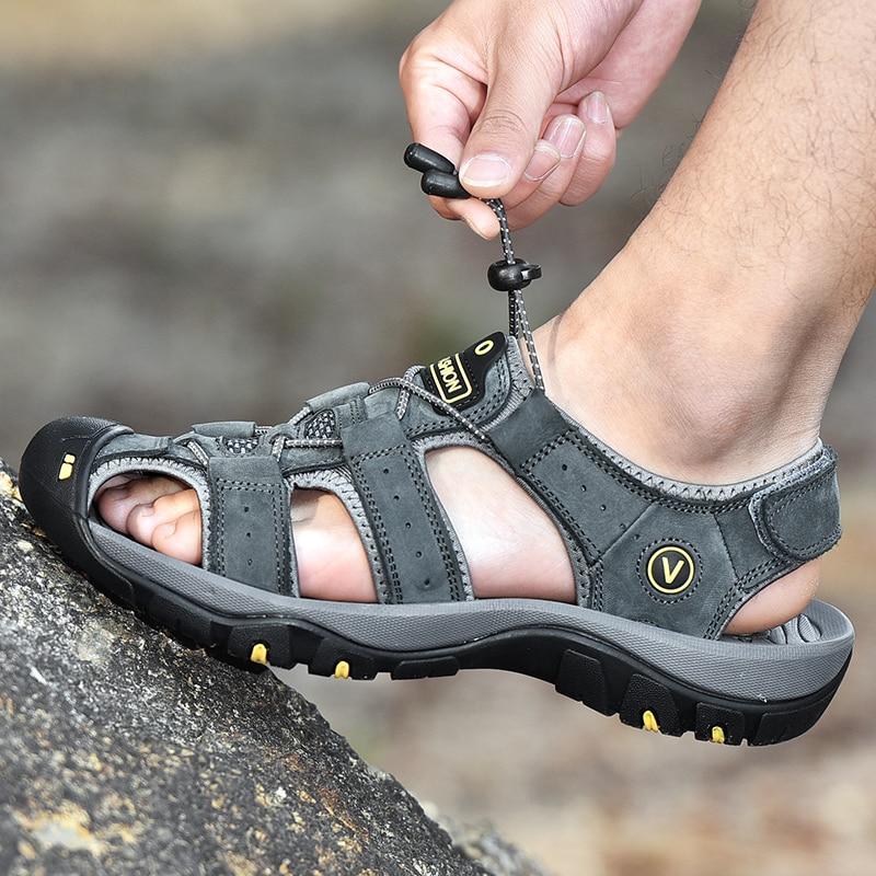 Men Sandals Fashion Sandals Slippers Big Size 38-47 Genuine Leather Men Shoes Summer New Large Size Men's Sandals
