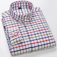 100 cotton long sleeve mens plaid oxford shirt comfortable button down square collar regular fit fashion checked casual shirt