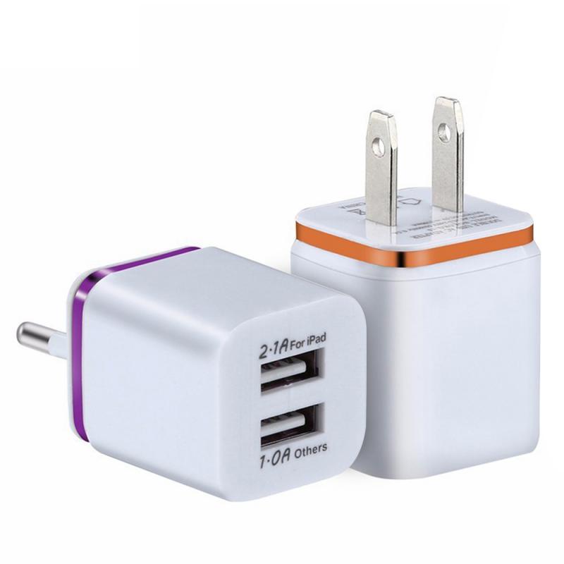 Универсальное зарядное устройство с двумя USB-портами, 2,1 А, быстрая зарядка, вилка стандарта ЕС/США, портативный настенный мобильный телефон, зарядное устройство для IPhone, Huawei-1