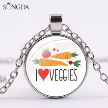 Mode jaime les légumes collier végétalien amour végétalien nourriture santé dessin animé pendentif 5 couleur chaîne bijoux cadeau de noël pour les amis