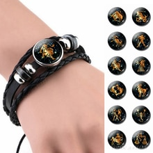 12 Constellation Leather Bracelet Zodiac Sign Handmade Glass Cabochon Black Punk Mens Jewelry Horoscope Astrology Birthday Gift