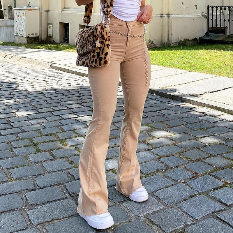 Casual Solid Y2K Flare Jeans For Girls Female Fashion 2020 Women's Vintage Denim Pants High Waisted
