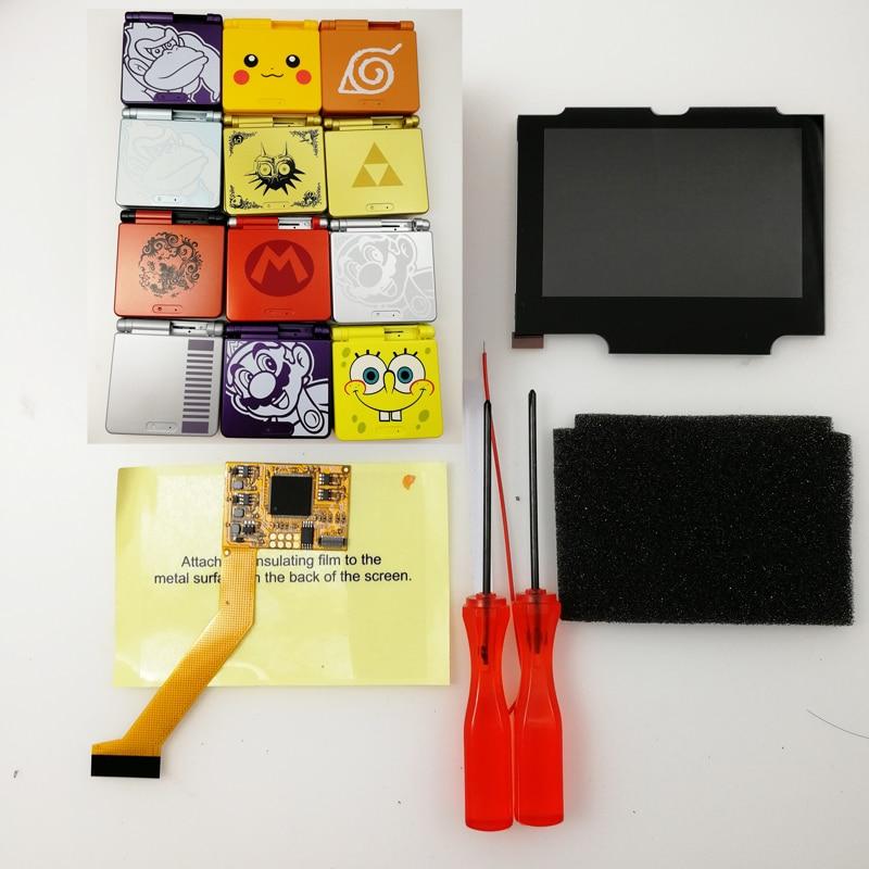 مجموعة شاشة IPS LCD V2 مع مبيت مقطوع مسبقًا لـ game boy GBA SP ، شاشة بإضاءة خلفية ، جراب لجهاز Nintendo