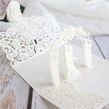 3D carte dinvitation de mariage fleur laser coupe poche offre personnalisée impression 50pcs