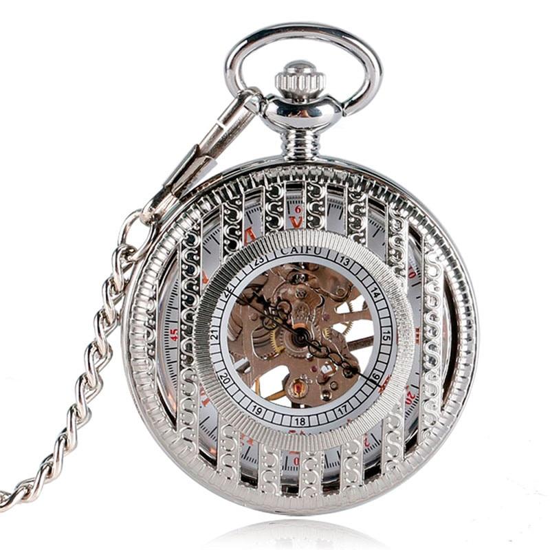 Antique Silver Black Unisex Pocket Watch Handwinding Mechanical Skeleton Watches Roman Number Clock with Pendant Chain Reloj