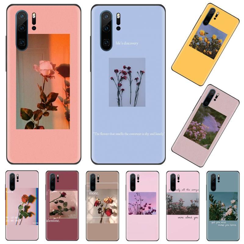 Gran arte impresiones flores rosa Bling lindo teléfono caso para Huawei P9 P10 P20 P30 Pro Lite smart Mate 10 Lite 20 Y5 Y6 Y7 2018 2019