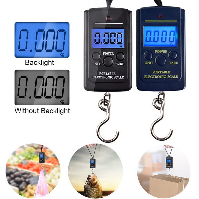 Báscula electrónica con Mini gancho para equipaje Junejour Balanza De Peso retroiluminación LCD báscula colgante Digital portátil de 100g/40kg 1 ud.