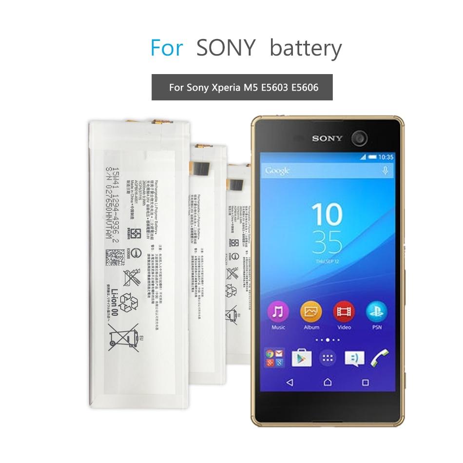 Mobile Phone Battery For Sony Xperia M5 E5603 E5606 E5653 E5633 E5643 E5663 E5603 E5606 Replacement Battery 2600mAh AGPB016-A001