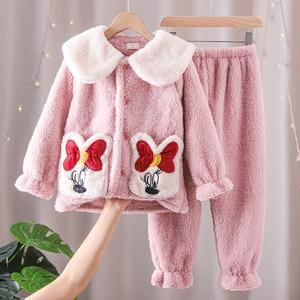 Warm Homewear Children's Girls Pajamas Sets Lovely Bow Pyjamas Suits Autumn Winter Soft Flannel Plush Baby Girls Night Clothes